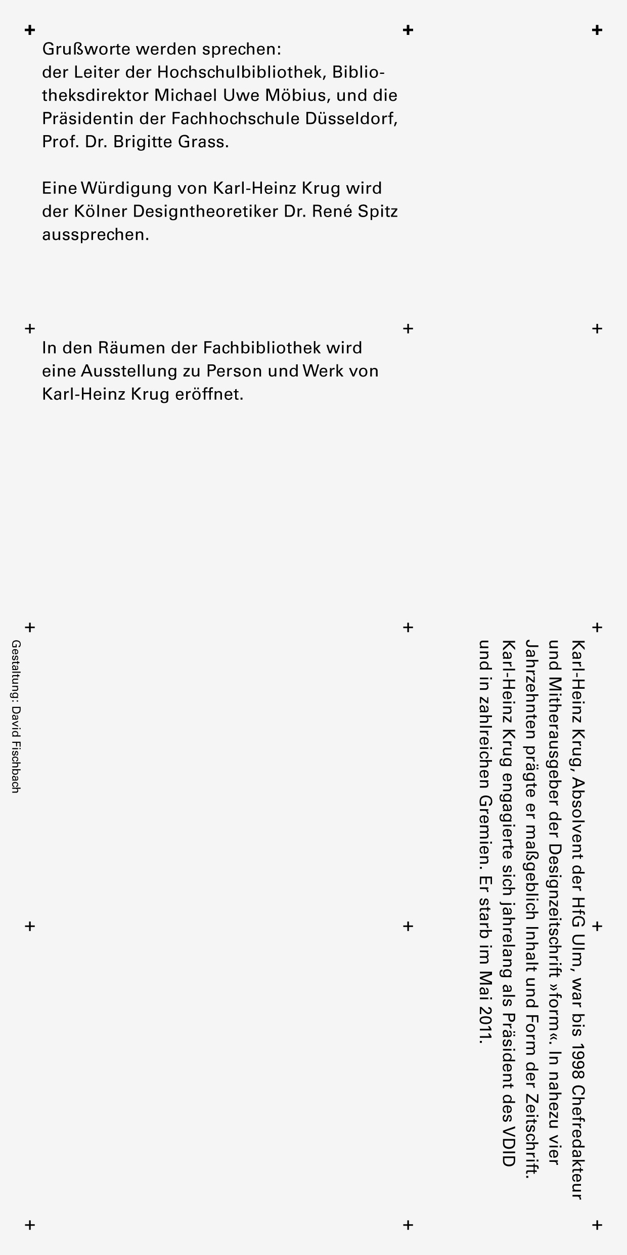 Invitation card, The Karl-Heinz Krug Research Library, back side