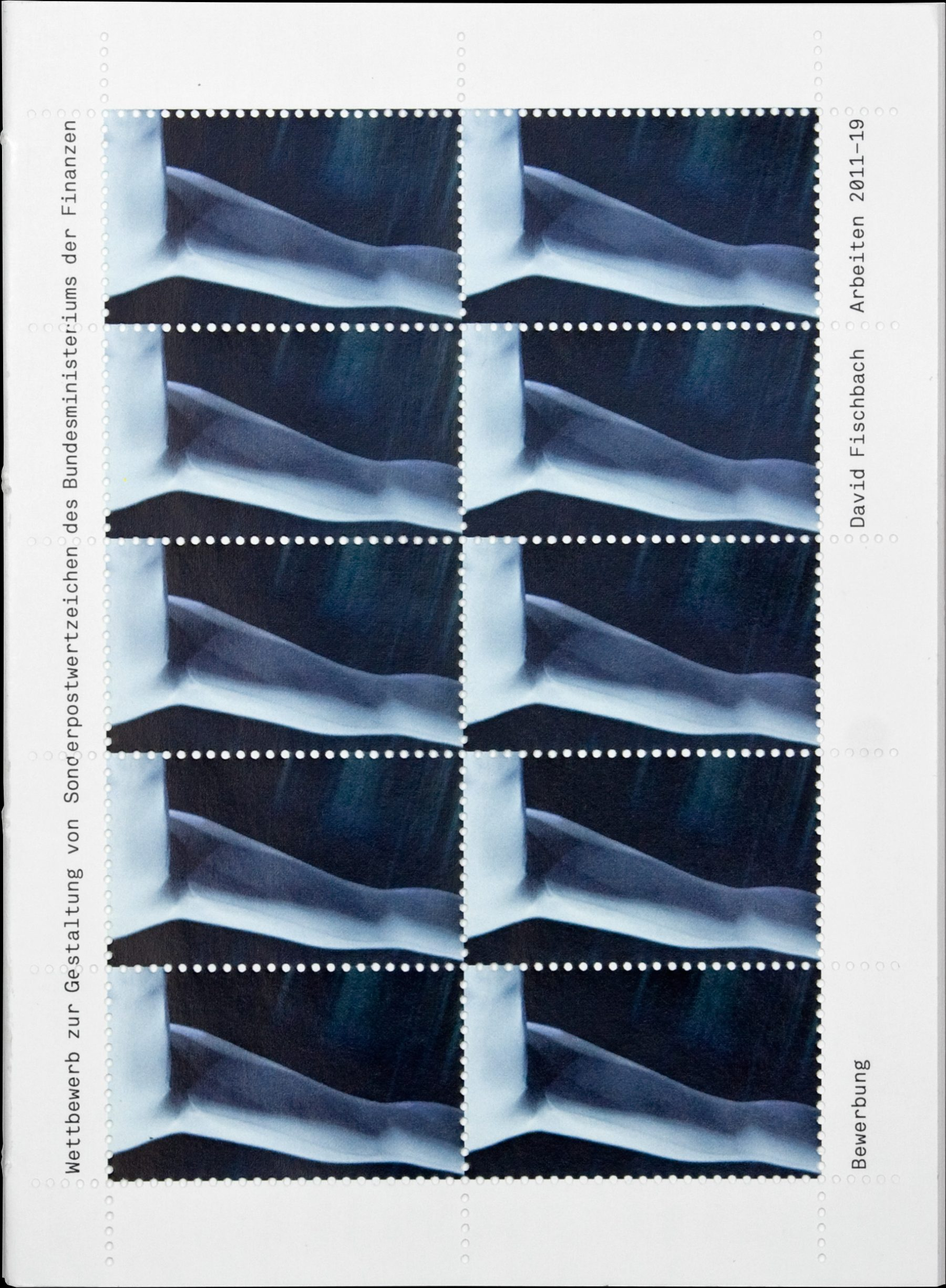 Application for the competition for the design of special postage stamps of the Federal Ministry of Finance, Cover, David Fischbach